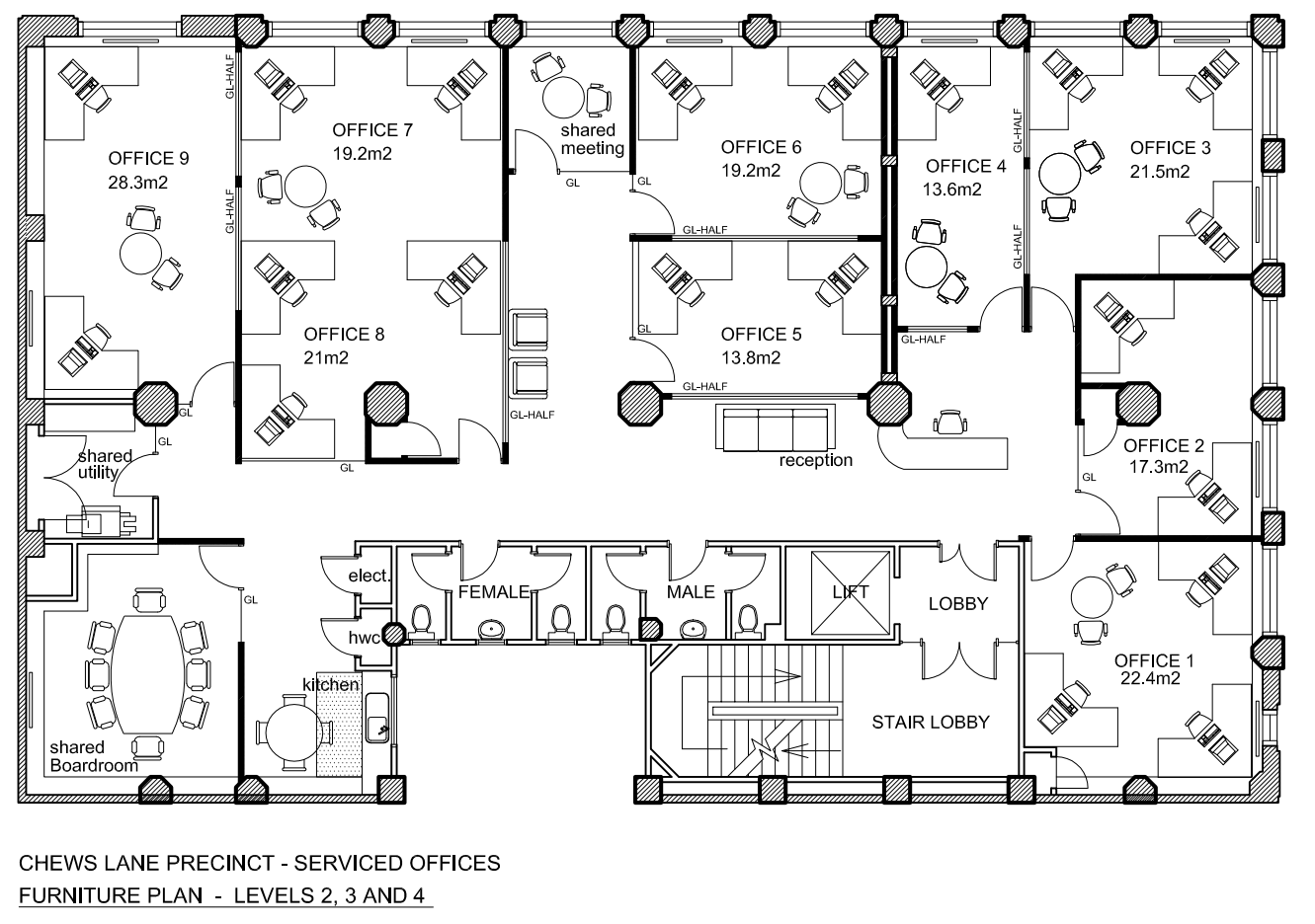 Office floor plan design